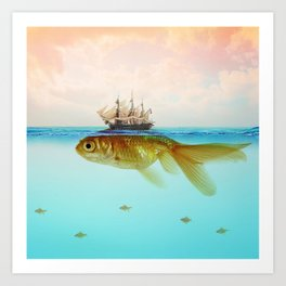 Goldfish Tall Ship Art Print