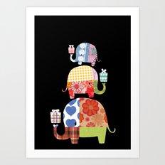 Patchwork Elephants - Gifts Art Print