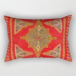 Kirman  Antique South Persian Embroidery Print Rectangular Pillow