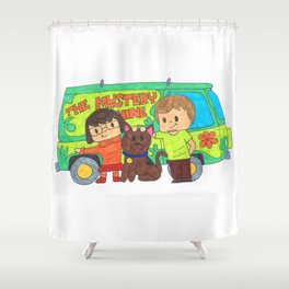 Sleuth Couple and Dog Shower Curtain