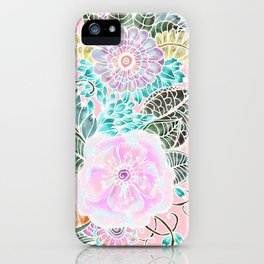 Blush pink lavender green white watercolor hand painted flowers iPhone Case