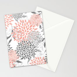 Festive, Floral Prints, Leaves and Blooms, Coral and Gray Stationery Cards
