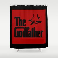 the godfather Shower Curtains featuring The Godfather by GrOoVy Photo Art