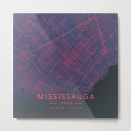 Mississauga, Canada - Neon Metal Print