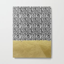 Black Gold Boho V Metal Print