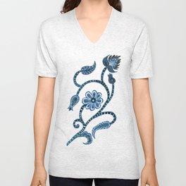 Blue Paisley Doodle-right facing Unisex V-Neck