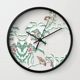 Sparrows in snow Wall Clock
