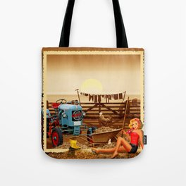 Pin Up Girl with tractor on the farm Tote Bag