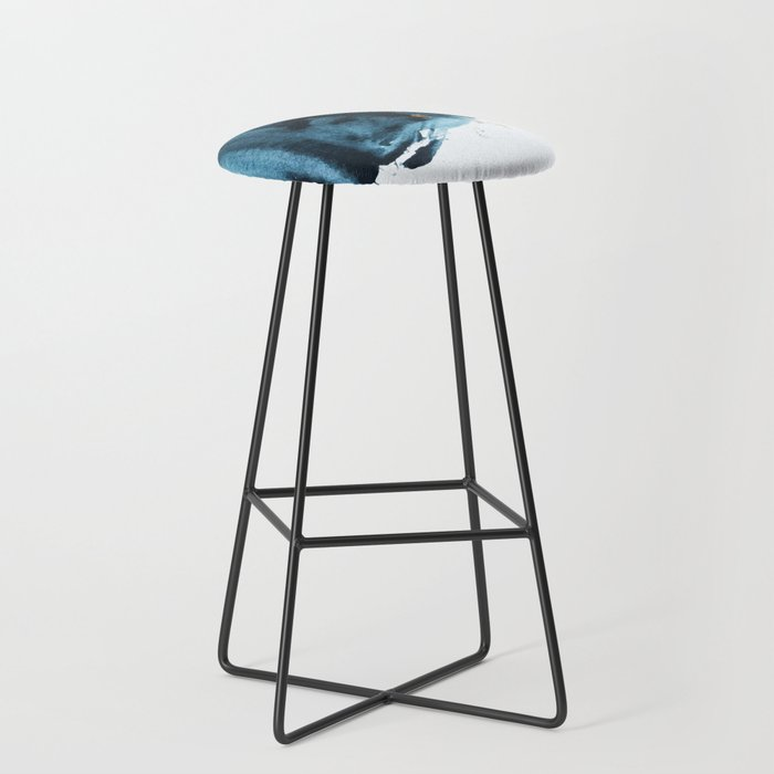 A Minimal Sapphire and Gold Abstract piece in blue white and gold by Alyssa Hamilton Art  Bar Stool