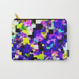 geometric square pixel pattern abstract in blue yellow pink Carry-All Pouch