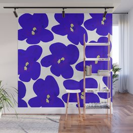 Blue Retro Flowers #decor #society6 #buyart Wall Mural