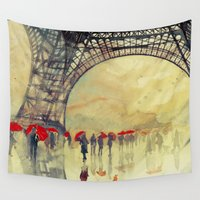 paris Wall Tapestries featuring Winter in Paris by takmaj