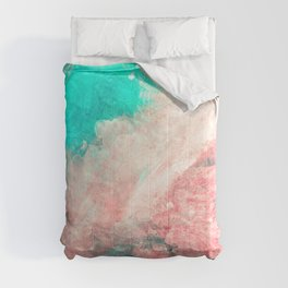 Teal and Peach Across the Universe Comforters