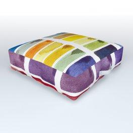Watercolor Rainbow Tile Outdoor Floor Cushion