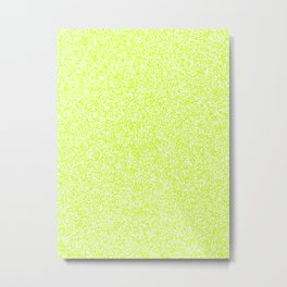 Spacey Melange - White and Fluorescent Yellow Metal Print