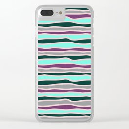 Geometrical mauve violet teal gray forest green stripes Clear iPhone Case