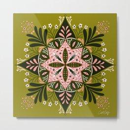 Sprouting Mandala – Sage & Pink Metal Print