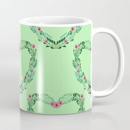 Heart Wreath Hand-painted in Green Ferns and Pink Blossoms on Mint Green Coffee Mug