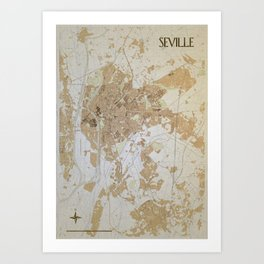 Seville retro map Art Print