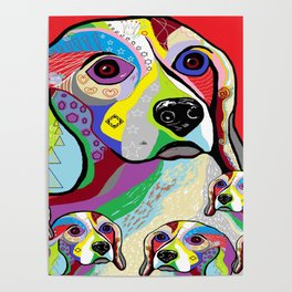 Beagle and Babies Poster