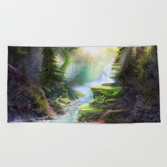 Magical Forest Stream Beach Towel