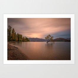 WANAKA TREE AUTUMN SUNSET - NEW ZEALAND - LANDSCAPE NATURE PHOTOGRAPHY Art Print