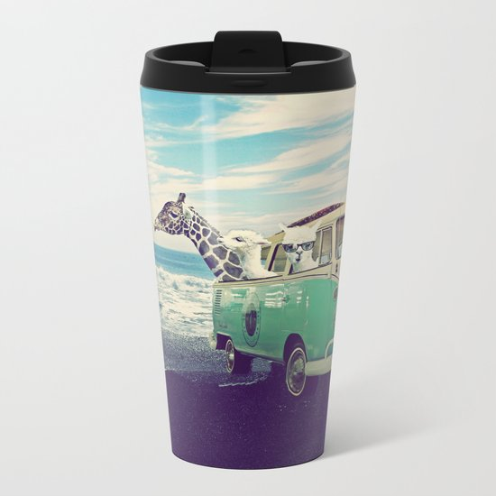 NEVER STOP EXPLORING THE BEACH Metal Travel Mug