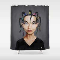 bjork Shower Curtains featuring Celebrity Sunday ~ Björk by rob art | illustration