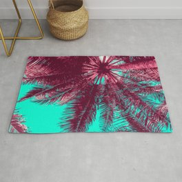 Peach and Teal Tropical Tree Rug