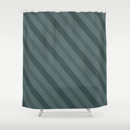 Night Watch PPG1145-7 Thick and Thin Angled Stripes on Juniper Berry Green PPG1145-6 Shower Curtain