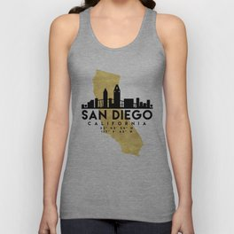 SAN DIEGO CALIFORNIA SILHOUETTE SKYLINE MAP ART Unisex Tank Top