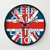 "coldplay Wall Clocks featuring ""Keep Calm and Listen to Coldplay""-Union Jack by Fabfari"