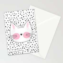Pink Cheek Kitty Cat Retro Style Stationery Cards