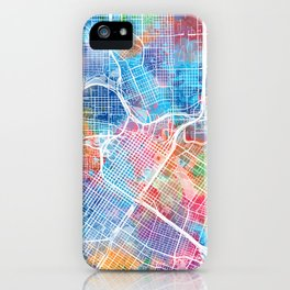 houston map watercolor iPhone Case