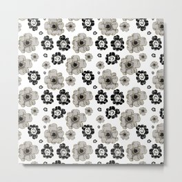 Black and White Floral Pattern Metal Print