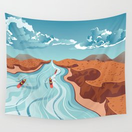 Blue river flowing through the high mountain and rafting people landscape Wall Tapestry