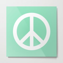 Peace (White & Mint) Metal Print