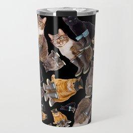 Tough Cats on Black Travel Mug