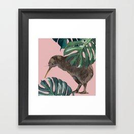 Kiwi Bird with Monstera in Pink Framed Art Print