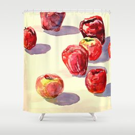 Red Apples watercolor Shower Curtain