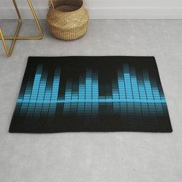 Cool Blue Graphic Equalizer Music on black Rug