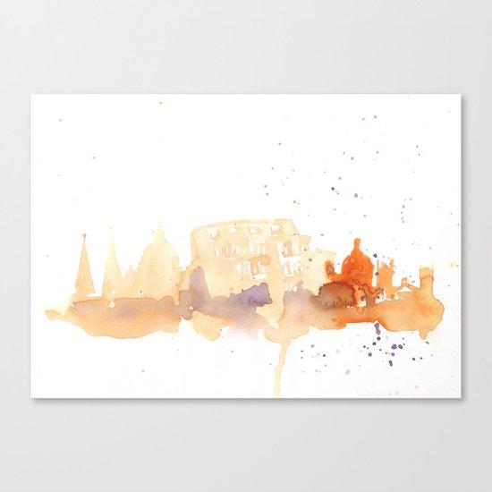 Watercolor landscape illustration_Rome - Colosseum Canvas Print