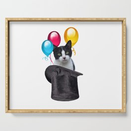 cylinder Hat - Cat Balloons  Serving Tray