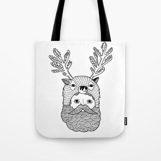 Portrait of Northern Deer Man Tote Bag