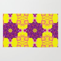 psychadelic Area & Throw Rugs featuring Psychadelic Flora by Cynthia Squire