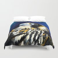 millenium falcon Duvet Covers featuring Night Falcon by waggytailspetportraits