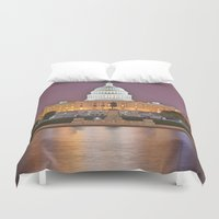 washington dc Duvet Covers featuring Glowing Washington DC Capitol by Nicolas Raymond