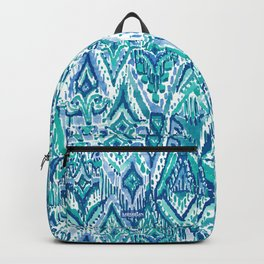 AQUA FRINGE TRIBAL Ikat Watercolor Backpack