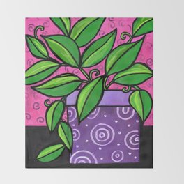 Purple Potted Plant Throw Blanket