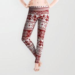 Red Winter Fair Isle Pattern Leggings